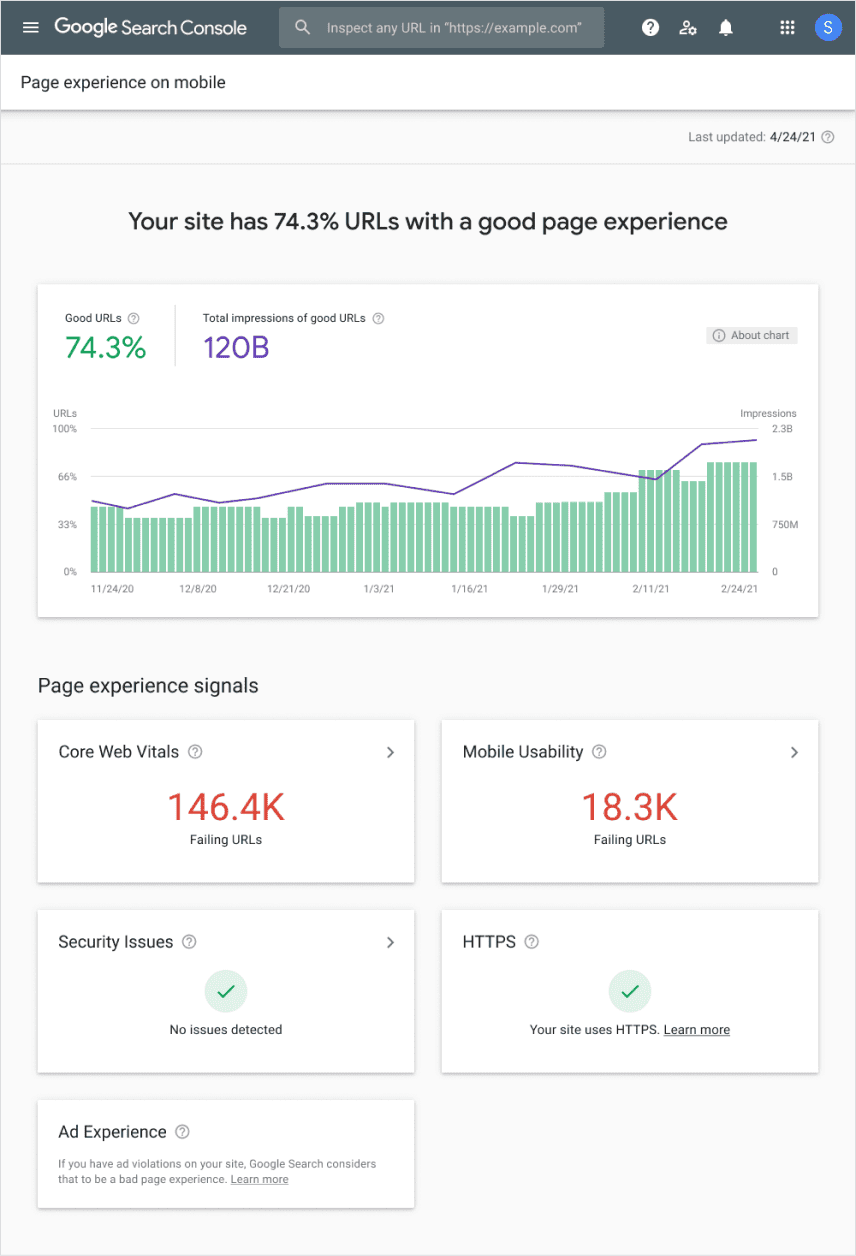Page experience report in Google Search Console