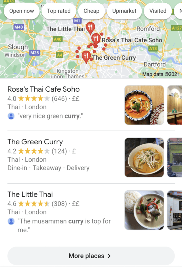 Search results on a mobile for thai curry showing Google Maps