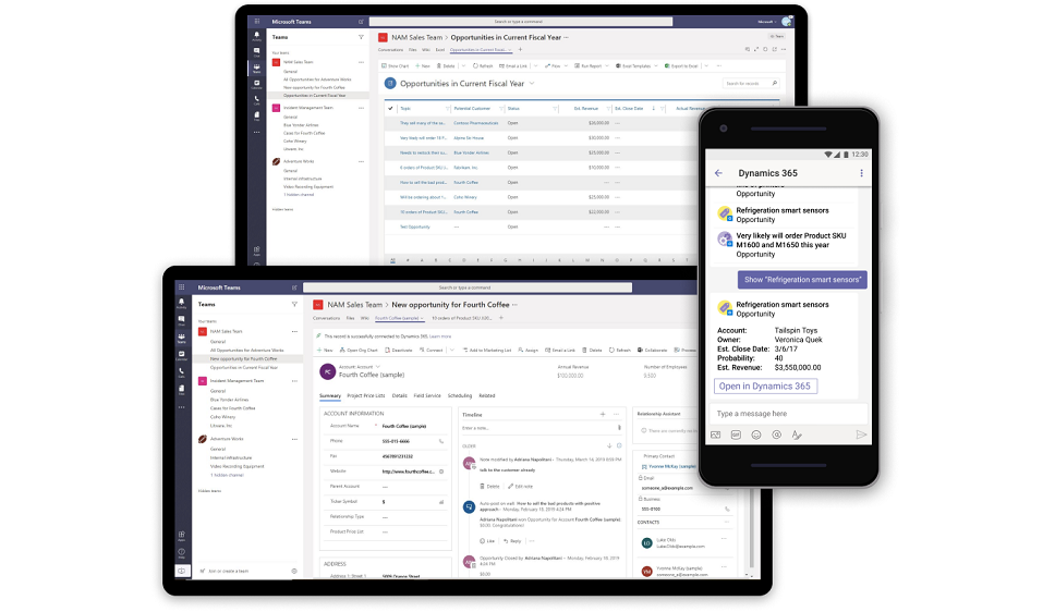 Dynamics 365 for Sales capability integrated into Microsoft Teams.