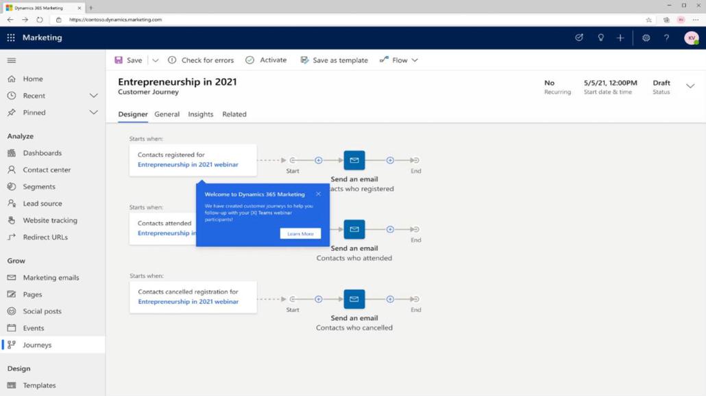 Customer Journey: Microsoft Teams Webinar Attendance to Dynamics 365 Marketing Contact.